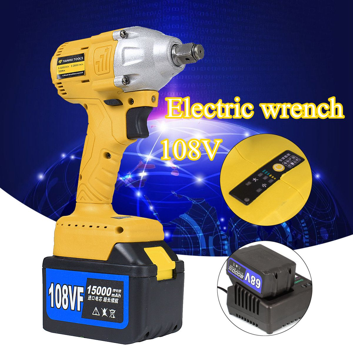 15000mAh 108V Akku elektrisch Bohrschrauber Wrench Lithium-Ionen Koffer Lithium brushless electric wrench 110V-220V sony cp s15 s 15000 mah