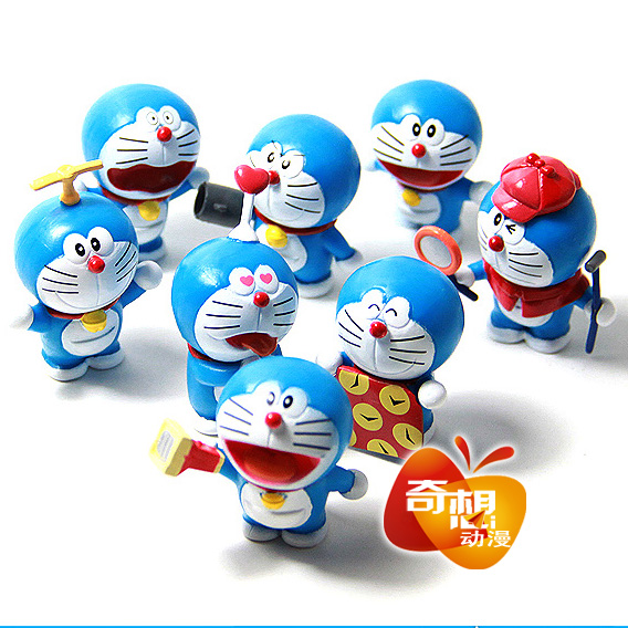 3.7cm 8pcs/lot mini cute Japanese classic anime figure Doraemon action figure set collectible model toys for boys