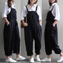 93384989e169 Fashion Solid Plus Size Women Loose Linen Pants Cotton Jumpsuit Strap Harem  Trousers Overalls(China