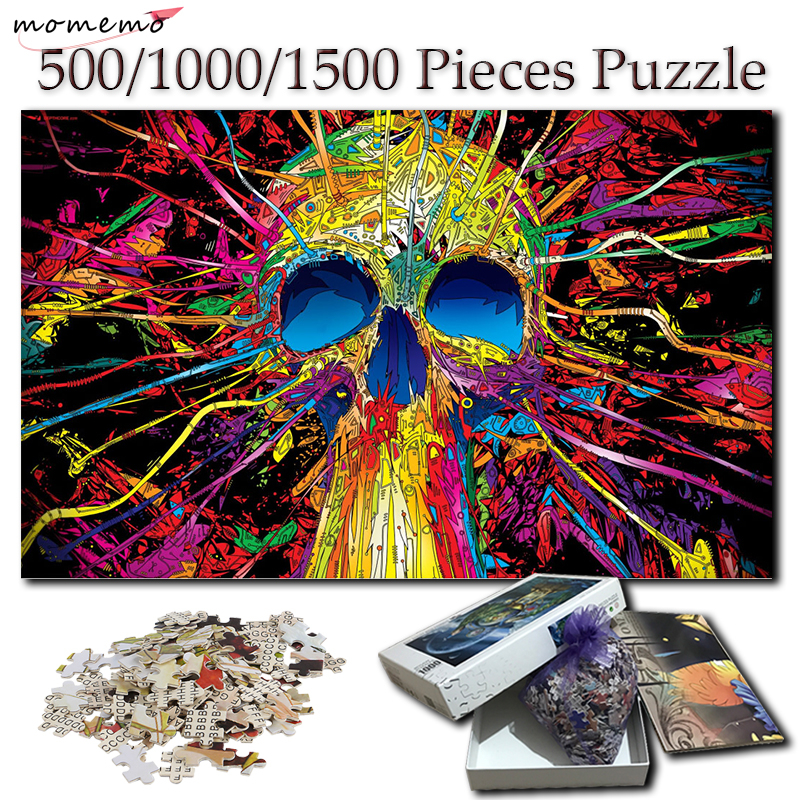 MOMEMO Colorful Skull Wooden 1000 <font><b>Pieces</b></font> <font><b>Jigsaw</b></font> <font><b>Puzzle</b></font> Adults Creative 500 1000 <font><b>1500</b></font> <font><b>Pieces</b></font> <font><b>Puzzles</b></font> Toy <font><b>Puzzle</b></font> Games for Kid Toy image