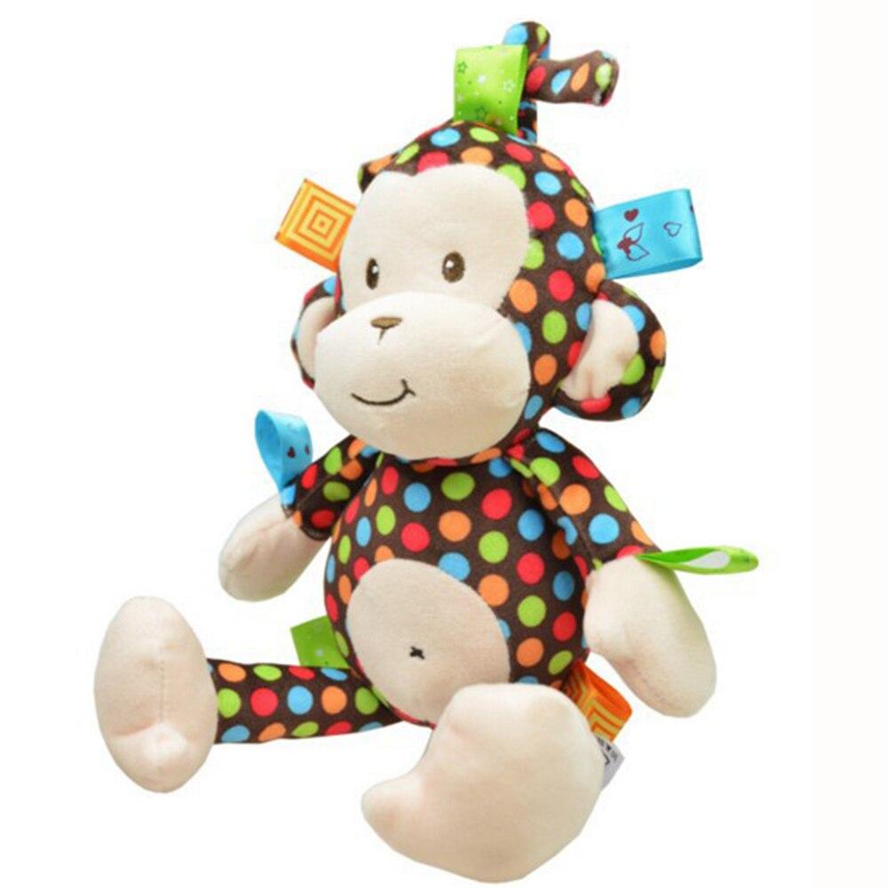 Felpa juguete del bebé sonajero toys tracción mono campana cochecito toys plush