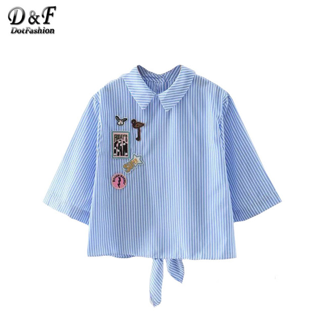 Dotfashion Ladies Blue and White Stripe Knotted Back Applique Shirt Lapel Half Sleeve with Button Cute Blouse