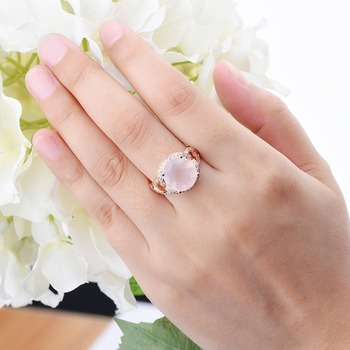 Rose Quartz Engagement Silver Gold Plated Ring 1