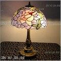 Настольная лампа Тиффани в стиле ретро  фиолетовая бабочка  цветная стеклянная  12 дюймов