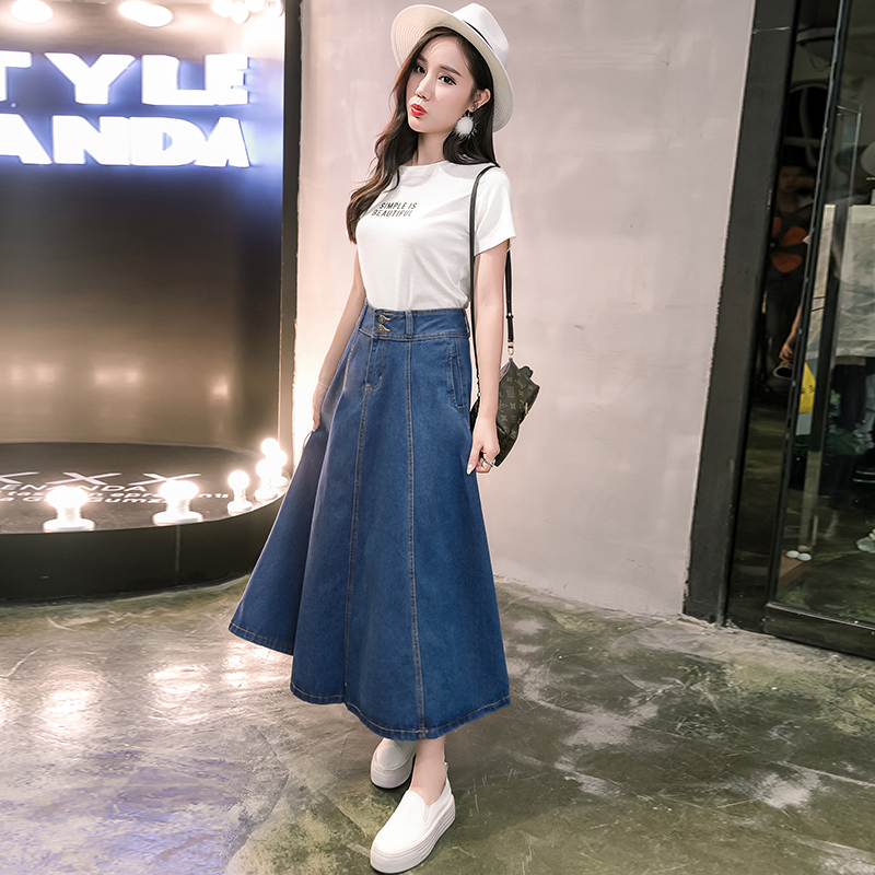 2f7185975 2017 New Denim Long Skirt Women High Waist A line Preppy Style Cowboy Brief  Women Skirts -in Skirts from Women's Clothing on Aliexpress.com | Alibaba  Group