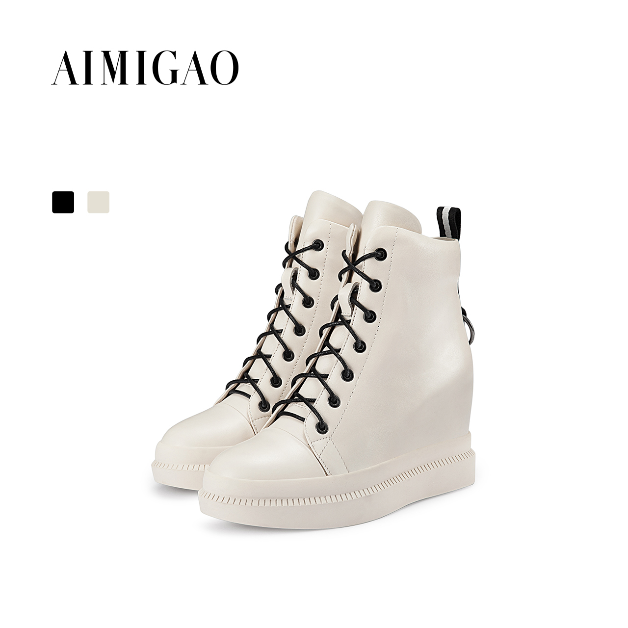 AIMIGAO Genuine Leather Comfortable casual shoes women sneakers 2017 new platform increased height fashion Lace-up Flat shoes minika new arrival 2017 casual shoes women multicolor optional comfortable women flat shoes fashion patchwork platform shoes