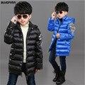 Зимние куртки для мальчиков куртка пальто Хлопка-ватник детские зимние куртки мода крыло верхняя одежда синий черный
