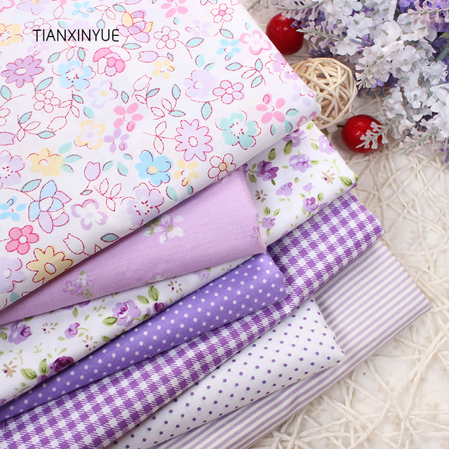 Purple flower fabric 7pcs 40cm*50cm Cotton Fabric For Sewing Quilting Patchwork rose fabric home Textile Tilda Doll Body Cloth
