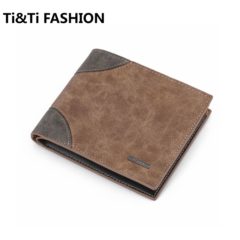 Bogesi PU Leather Men's Wallets top Quality Luxury Coin Purse, Retro Style Short Sale Fashion Men's Wallet, Free Men's Wallet retro style matte pu leather change coin wallet purse brownish red