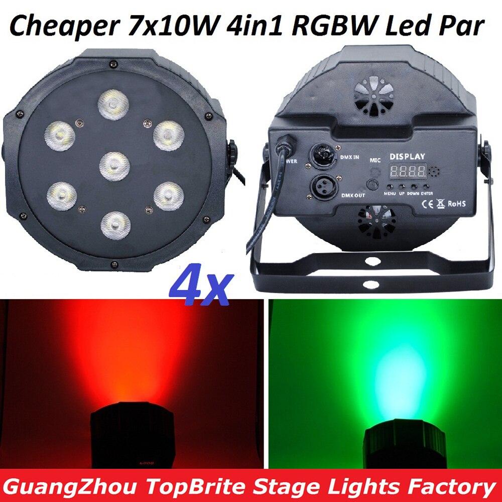 4xLot bonne qualité Led Par lumière Quad 7x10W Led faisceau lavage Dmx Par lumière américaine DJ Disco RGBW 4in1 Led plat Par lumières lampe à Led
