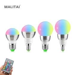 E27 E14 LED RGB المصباح الكهربي AC110V 220 فولت 5 واط 7 واط LED RGB بقعة ضوء عكس الضوء الجدة عطلة RGB أضواء الأشعة تحت الحمراء التحكم عن بعد 16 ألوان