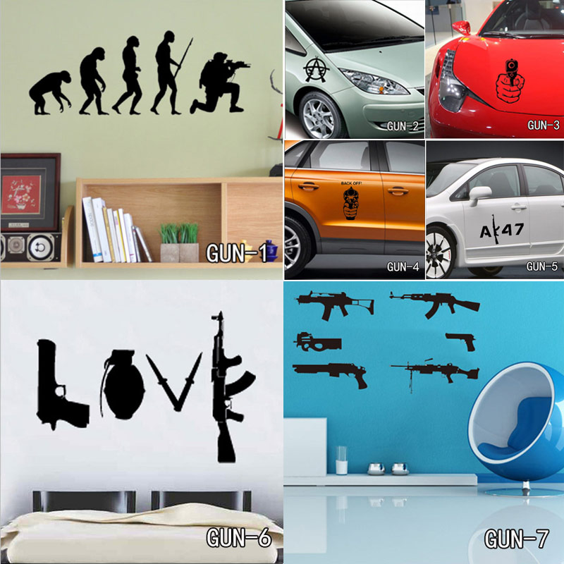hot sale weapon wall sticker for boys room wall art decor