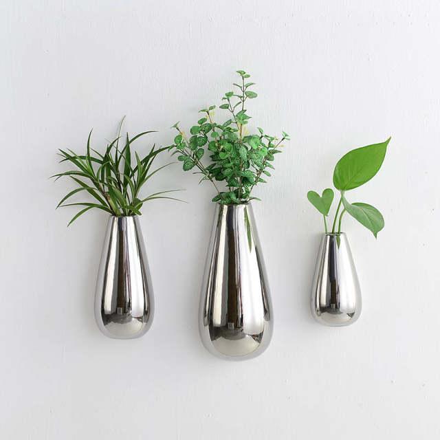 Online Shop Set Of 3 Silver Plated Ceramic Wall Vase Teardrop