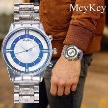 9aaf7b18be1 McyKcy Homens de Negócios Relógio de Quartzo de Vidro Azul dos homens de  Moda de Luxo relógios de Pulso À Prova D  Água de Aço C..