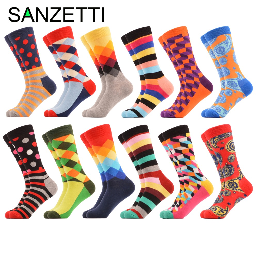 SANZETTI 12 pairs/lot Funny Mens Cotton Crew Casual Socks Diamond Dots Stripe Pattern Novelty Dress Colorful Wedding Socks