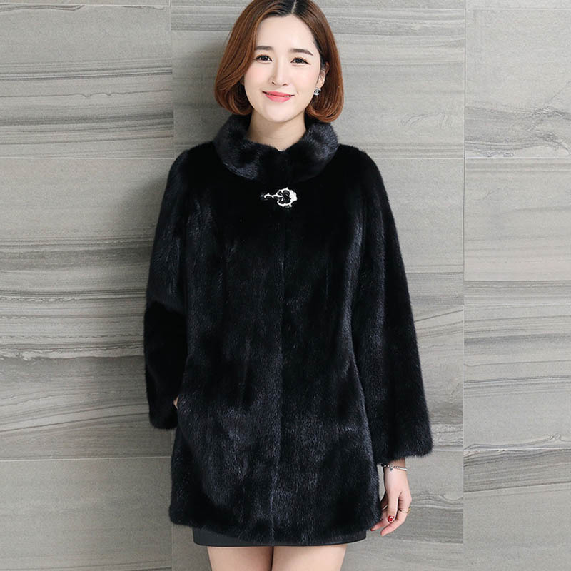 Z607 9 Fashion Women Winter Clothes Long Overcoat Three Quarter Sleeve Slim Stand Collar Mink Fur Coats Women Faux Fur Coat