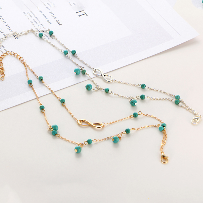 LZHLQ Geometric Metal Letter Anklet Bracelet Maxi Multilayer Foot - Fashion Jewelry - Photo 6