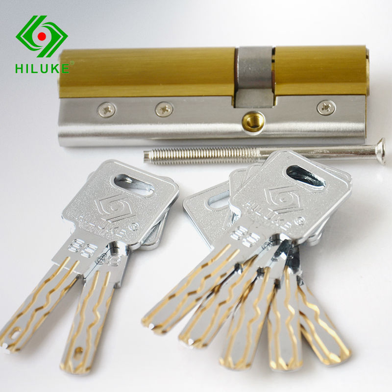 HILUKE Solid Brass Lock Core Eight TrackSide Column Europe Stander 90mm High Security Door Cylinder hiluke 70mm brass lock cylinder 5pics brass key with two line and button europe standard safe door lock core single open
