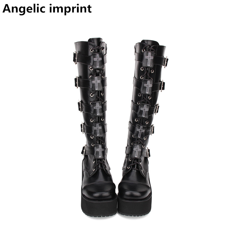 Angelic imprint mori girl Women motorcycle punk shoes lady high heels lolita boots woman princess dress pumps buckle 33 47 8cm-in Mid-Calf Boots from Shoes    1