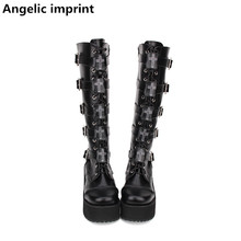 Lolita Boots Pumps-Buckle Punk-Shoes Angelic Imprint Women Motorcycle Mori Girl Princess-Dress