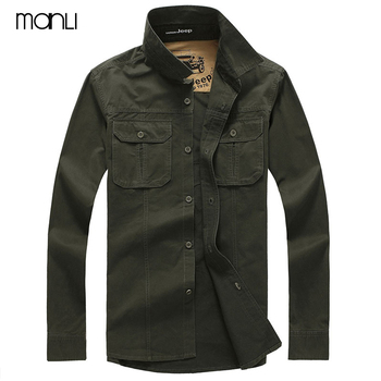 2018 Spring men's high quality military casual brand long sleeve shirt man autumn 100% cotton afs jeep army green shirts S-4XL afs jeep cashmere inner men s thick 100