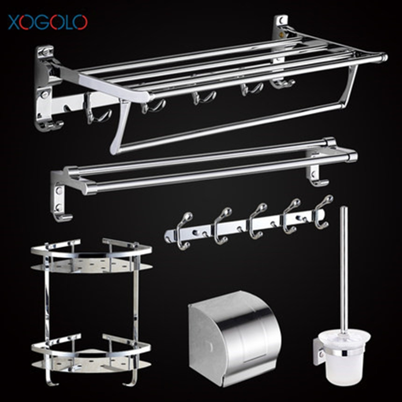 Xogolo <font><b>Stainless</b></font> <font><b>Steel</b></font> Polished Chrome Wall Mounted Bath Hardware Sets Paper <font><b>Towel</b></font> Holder Rack Bathroom Accessories