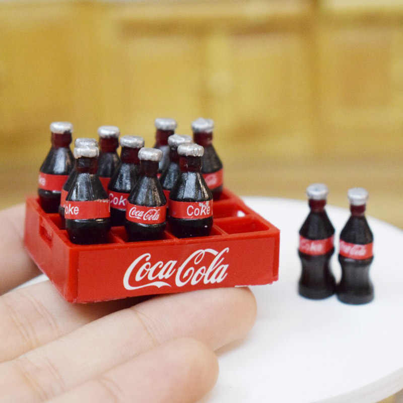 1 Set 12pcs Mini Coke Drinks 1/12 Dollhouse Miniature Food Doll Drinks Play Kitchen Toy Fit Ob11 Accessories