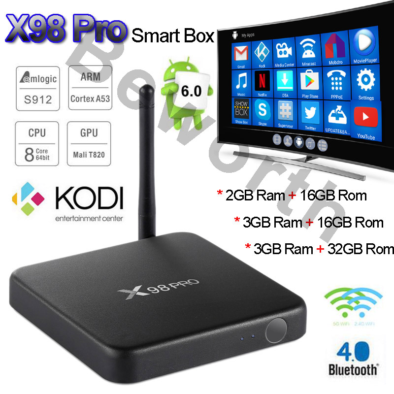 2017 Android 6.0 TV Box 3G 2GB 16GB Amlogic S912 Octa Core X98 Pro Smart Media Player Dual Wifi BT4.0 4K H.265 KODI Professional zidoo x6 pro 4k 2k h 265 smart android 5 1 tv box rk3368 octa core 2gb 16gb 1000m lan dual wifi kodi bluetooth 3d media player