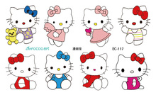 EC117 Colorful Emotion Candy Color Girl Hello Kitty Temporary Tattoo Sticker Body Art Water Transfer Fake Flash Taty
