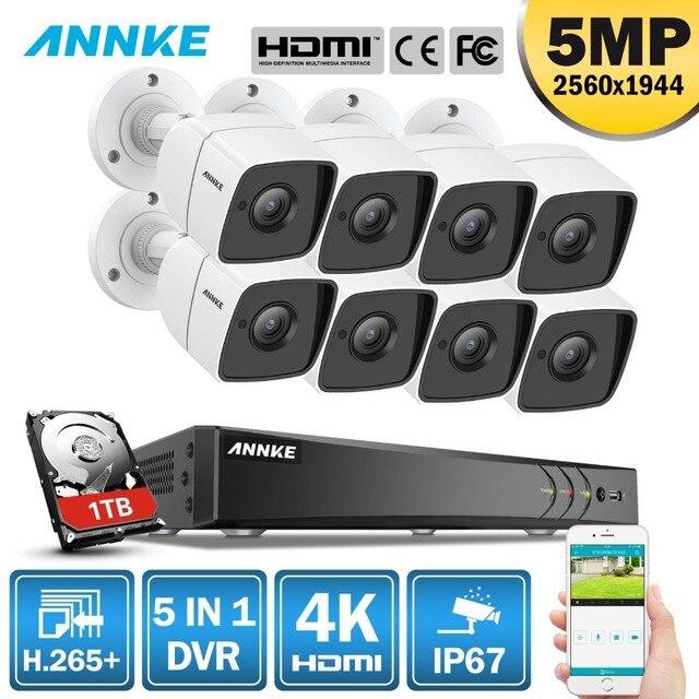 ANNKE 8CH 5MP Ultra HD טלוויזיה במעגל סגור מצלמה מערכת 5IN1 H.265 + DVR עם 8 PCS 5MP TVI עמיד לבן אבטחה מעקב מערכת