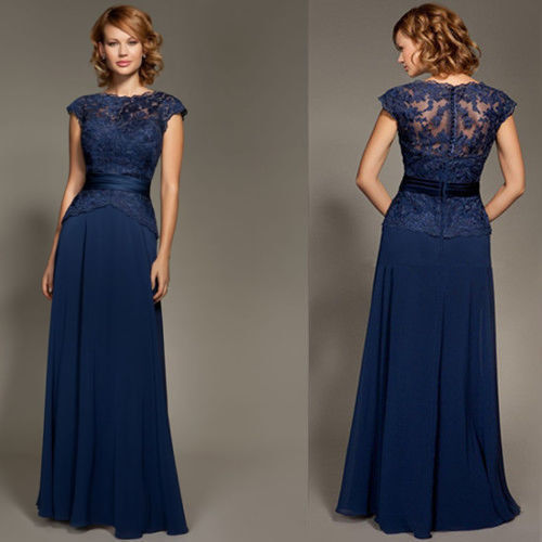 CharmingBridal Cap Sleeve Floor Length Chiffon Dress