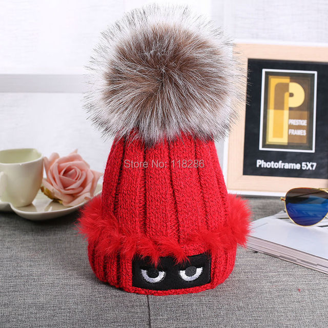 Outdoor Warm Winter Hats Cappelli Bonnets Fashion Large Pom Poms Knitted Beanie Cap Wool Knit Skullies gorro lana