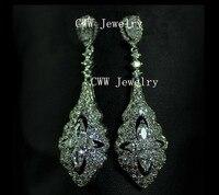 Luxury Wedding Jewelry 18K Silver Plated White CZ Crystal Long Bridal Drop Earrings For Wedding Dress