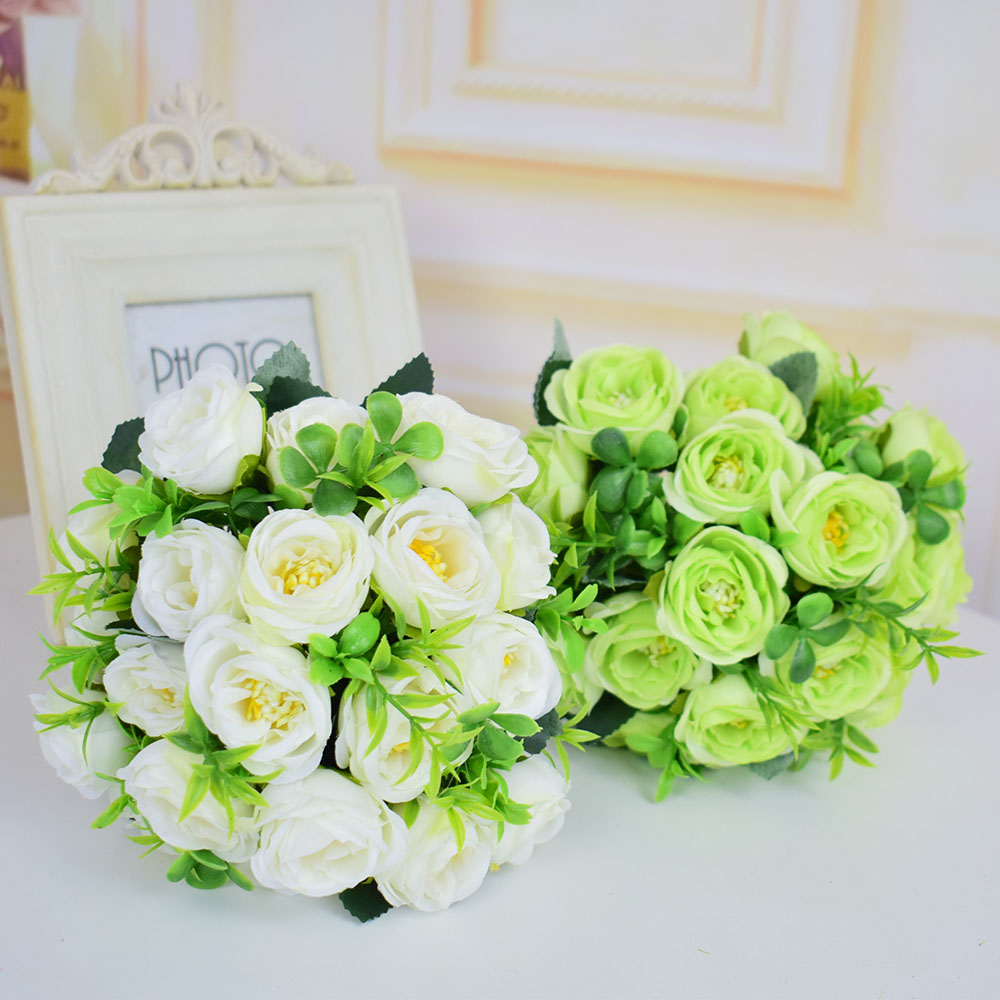 Small Silk Roses Artificial Flowers Wedding Bridal Bouquets Mariage