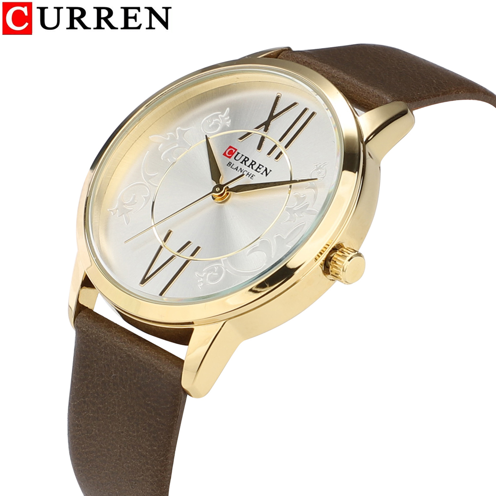 Hot Fashion Women Watch Vogue Leather Strap Ladies Wrist Watches Woman Simple Style Golden Clock <font><b>Curren</b></font> Women's Wristwatch 2019 image