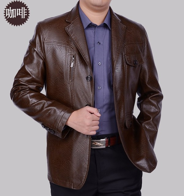 Men Business Leather Jacket  New arrival slim sheep skin leather suit men's special design suede leather jacket casual suit