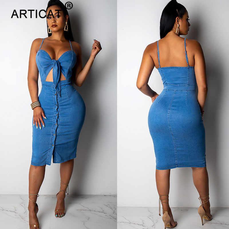 Articat выдалбливают платье из джинсовой ткани для женщин узлом укороченные с высокой талией Bodycon летнее пуговицы пикантные Спагетти ремень вечерние
