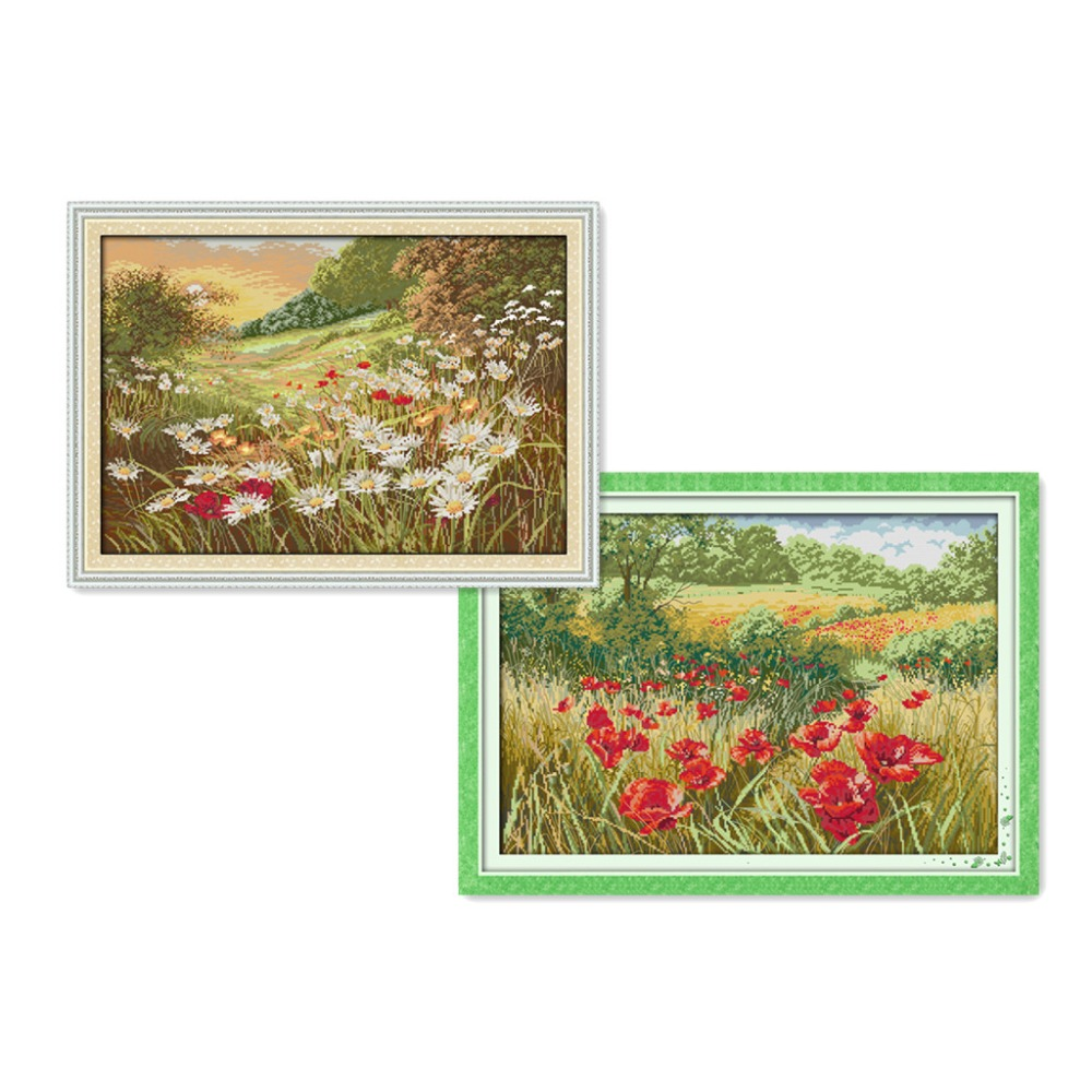 Everlasting love  Beautiful Flowers (1) Chinese cross stitch kits Ecological cotton stamped 11 DIY new year decorations for home