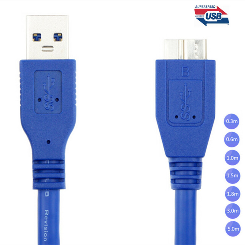 USB 3.0 A Male AM to Micro B USB 3.0 Micro B Male USB3.0 Cable in Blue 0.3m 0.6m 1m 1.8m 1.5m 3m 5m wire world starlight usb 3 0 a b 0 5m