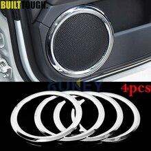 4 pçs para dodge caliber 2006 2012 porta do carro prateleira de áudio alto falantes chrome capa guarnição moldura subwoofer quadro enfeitar acessórios