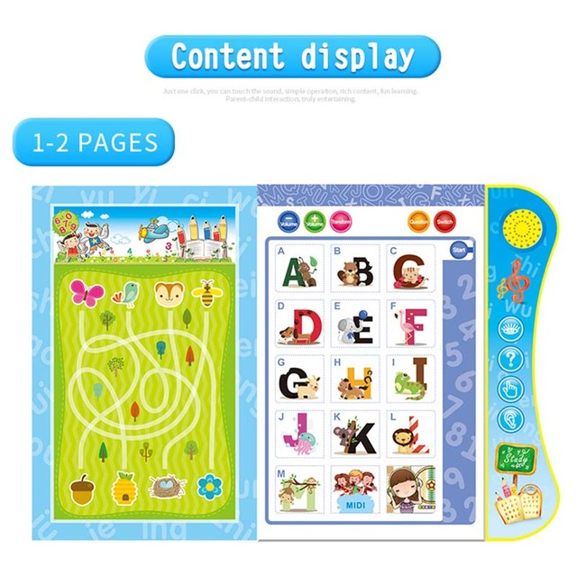 Kids Learning Book English Letter Numbers Smart Logic Voice Book Educational Electronic Toys YJS Dropship