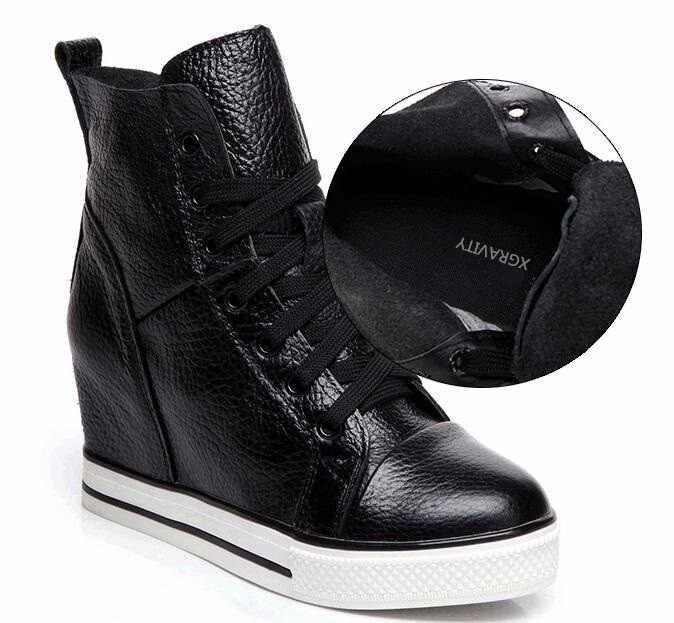 2019 Новый уникальный пятки увеличивающие рост Модные женские ботильоны ботинки на танкетке личи кожи натуральной кожи женская теплая обувь зимние сапоги S011