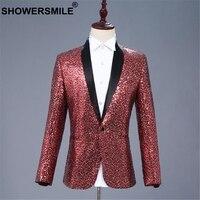 SHOWERSMILE Red Sequin Jacket Blazer Men Singer Compere Dj Club Suit Jacket One Button Slim Fit Mens Fashion Blazer