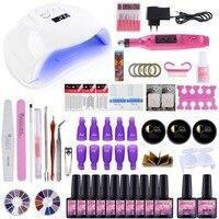 Nail Art Set 36/54W UV LED Gel Lamp For Nail Manicure Set 10PCS Gel Nail Polish Varnish Extension Brushes Tools Kit For Manicure