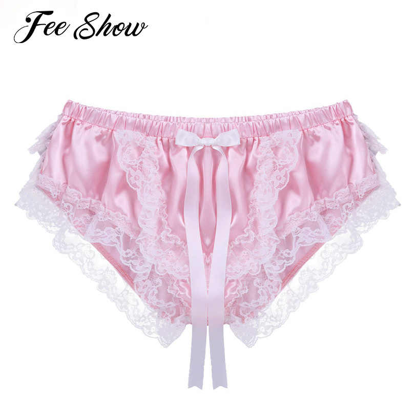 79c2b6c53 Mens Sexy Lingerie Gay Briefs Panties Shiny Soft Satin Ruffled Lace Floral  Briefs Panties Sissy Lace