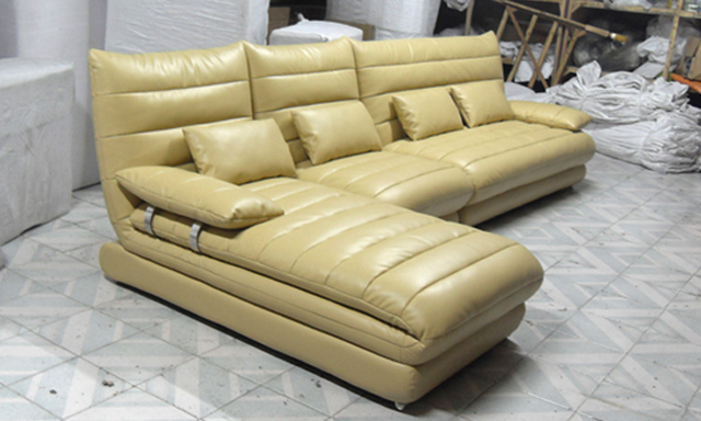 Luxury Pearlescent leather European style Sofa Multi - Combination Genuine Leather L Shaped Corner Sofa Set  L9079-2
