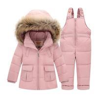 Russian Winter Suits for Boys Girls 2018 Ski Suit Children Clothing Set Baby Duck Down Jacket Coat + Overalls Warm Kids Snowsuit