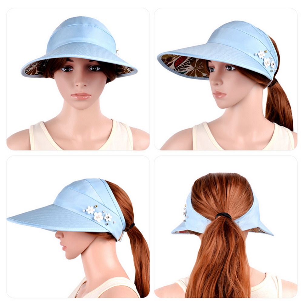 d4446c59167 VBIGER Women Anti UV Sun Hat Foldable Summer Beach Hat Wide Brim Visor  Ladies Sunproof Empty Top Hats with Adjustable Strap-in Sun Hats from  Apparel ...
