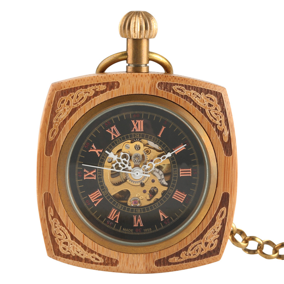 Creative Square Design Wooden Gold Hand Wind Mechanical Pocket Watch Red Wooden Roman Number Vintage Pattern Hollow Clock