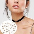 Hot Stylist DIY Velvet Choker with 26 Initial Alphabet Letter Name Initial Gold Plated Pendant Necklace Gifts